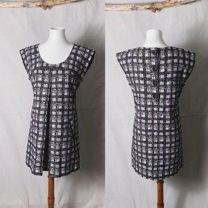 NWT TIBI Graphic Plaid Pleated Cap Sleeve Dress